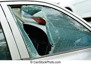 coche, ventana, colocado, por, Un, thief, ,