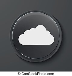 Vector modern black glass circle icon. - Vector cloud modern...