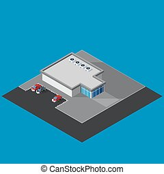 vector illustration of isometric supermarket building