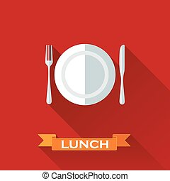 vector illustration with a plate and cutlery in flat design...