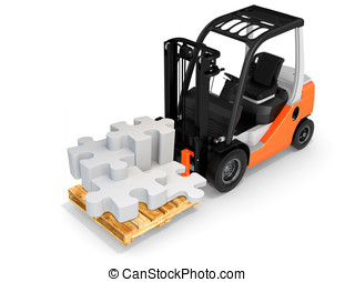 3d forklift with puzzle pieces