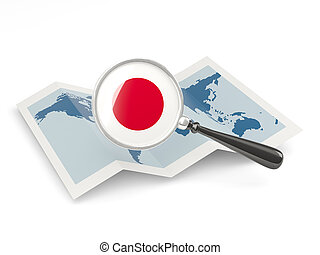 Magnified flag of japan with map isolate on white