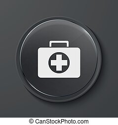 vector, moderno, negro, vidrio, círculo, icon.,
