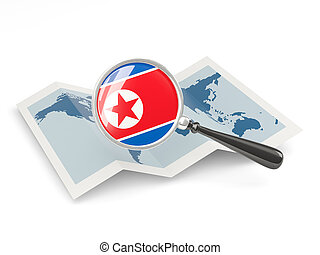 Magnified flag of north korea with map isolate? on white