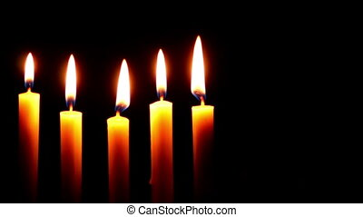 Five Candle on a Dark Background