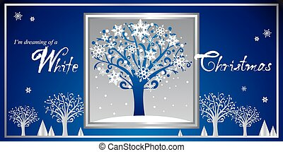White Christmas. - Modern greeting card in red and gold...