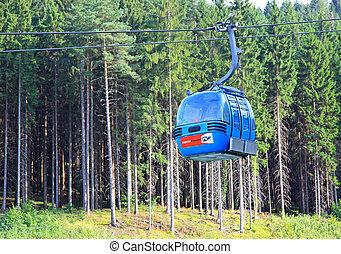 Blue ropeway at Hrabovo near town Ruzomberok, Slovakia