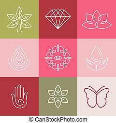 Vector beauty and spa line logos and signs - abstract design...