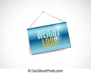 weight loss hanging banner illustration design over a white...