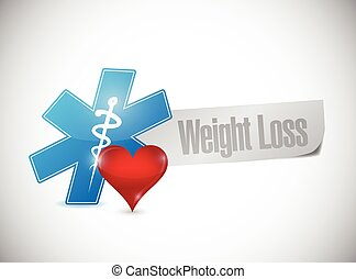 weight loss medical sign illustration design over a white...