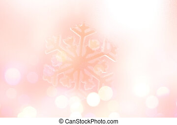 Winter Holiday Snow flake Background, Pink Bokeh.