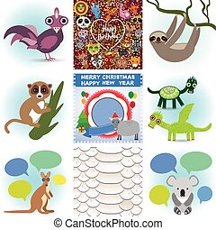 Set of funny animals. Greeting cards Happy Birthday and New...