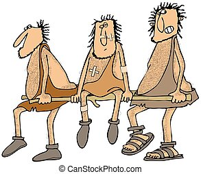 Injured caveman - This illustration depicts an injured...