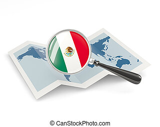 Magnified flag of mexico with map isolate on white