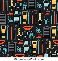 Medical seamless pattern with dental equipment icons