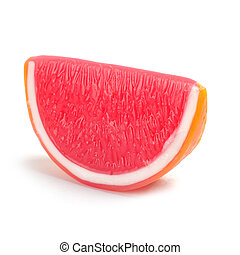 lobule of grapefruit on a white background