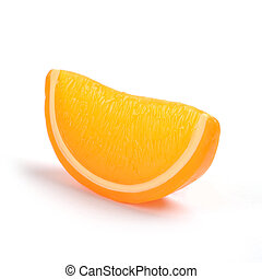 lobule of orange on a white background