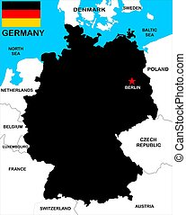 Germany Map - a vectorial map of Germany with neighbours
