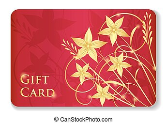Luxury red gift card with golden swirls and flowers -...