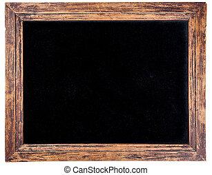 Old wooden frame - Rectangular wooden frame with black...
