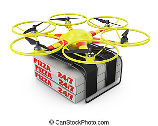 drone - Flying drone to which are attached three boxes of...