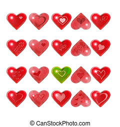 Be My Valentine - Red hearts isolated on white background