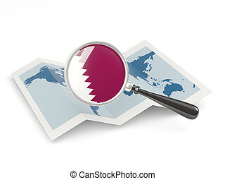Magnified flag of qatar with map isolate on white