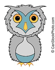 Grey owl cartoon illustration vector