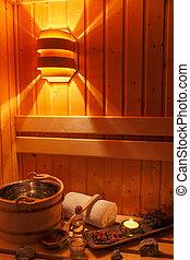 wellness, e, spa, em, a, sauna,