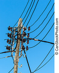 power line on mallorca - a power line on the island of...