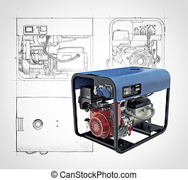 Portable generator isolated on a white background -...