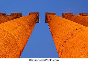 Illuminated bright classical pillar