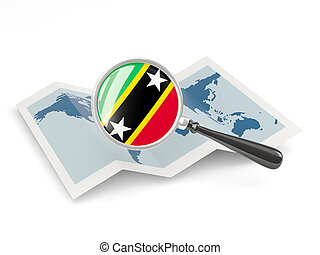 Magnified flag of saint kitts and nevis with map isolate on...