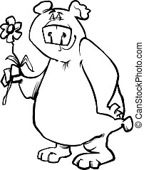bear with flower coloring page