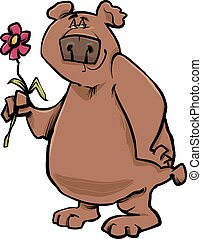 bear with flower cartoon illustration