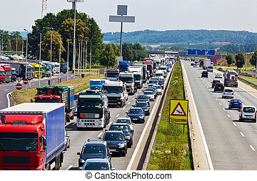 traffic jam on highway - non-functional emergency lane in a...