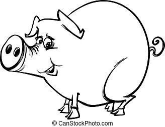 farm pig cartoon coloring page - Black and White Cartoon...
