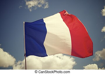 France - Close-up of the French national flag waving
