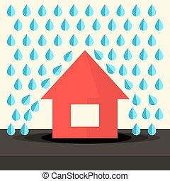 House in Rain Flat Design Vector Illustration