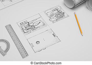 apartamento,  techincal, desenho, Esboço