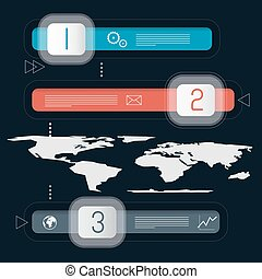 Three Steps Infographics Template with World Map