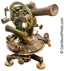 Old Theodolite Cutout - Old Brass Theodolite Isolated with...