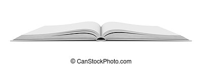 White blank open book on white background