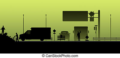 Silhouette. Road closed, road works. - Silhouette. Road...