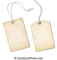 Blank old paper cloth tag or label set isolated on white -...