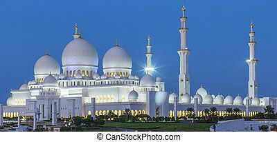 Panoramic view of Abu Dhabi Sheikh Zayed Mosque by night,...
