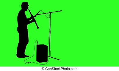 Silhouette musician plays the clarinet Green screen footage...