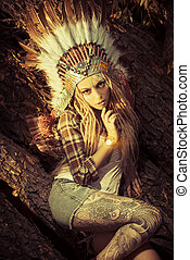 headdress - Attractive modern girl in style of the American...