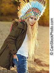 indigenous - Fashion shot of a beautiful girl in style of...