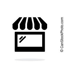 Storefront shop glass case icon on white background. Vector...
